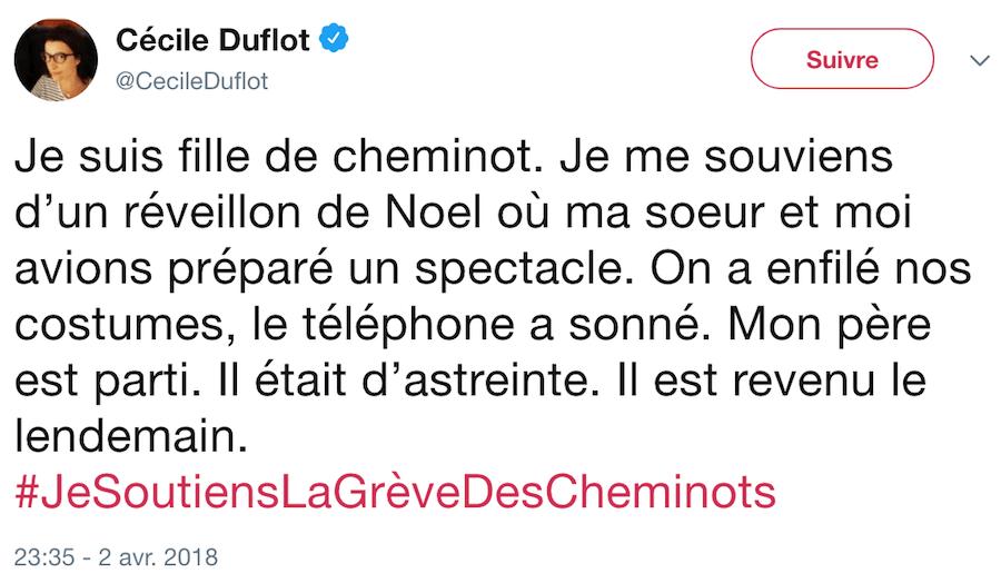 Cécile Duflot fille de cheminot