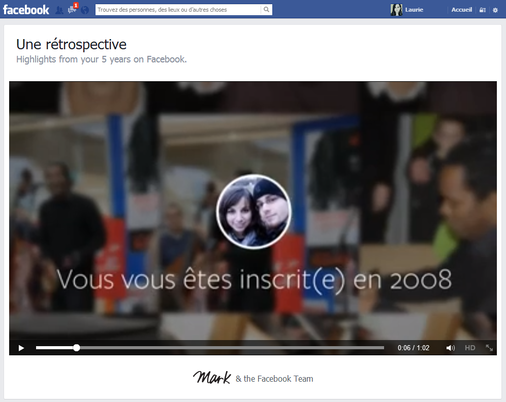 Rétrospective facebook